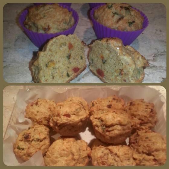 Muffin integral de manjericão e tomate desifratado